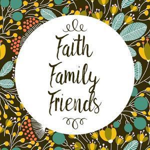 Faith Family Friends Retro Floral Black by Color Me Happy