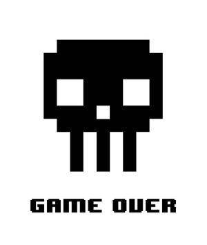 Game Over - Black Skull by Color Me Happy