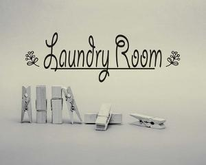 Laundry Room Sign Clothespins Black and White by Color Me Happy