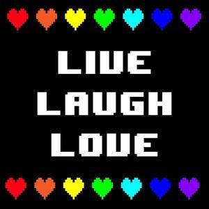 Live Laugh Love - Black with Pixel Hearts by Color Me Happy