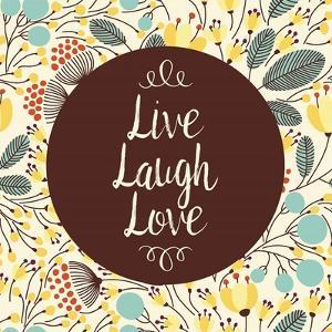 Live Laugh Love Retro Floral White by Color Me Happy