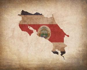 Map with Flag Overlay Costa Rica by Color Me Happy