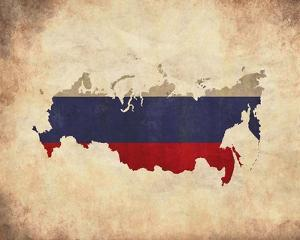 Map with Flag Overlay Russia by Color Me Happy