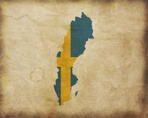 Map with Flag Overlay Sweden by Color Me Happy