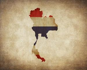 Map with Flag Overlay Thailand by Color Me Happy