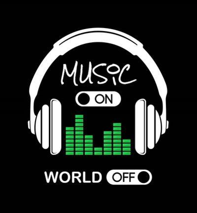 Music On, World Off Headphones Black Background by Color Me Happy
