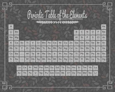 Periodic Table Gray and Red Leaf Pattern Dark by Color Me Happy