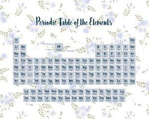 Periodic Table Of The Elements Blue Floral by Color Me Happy