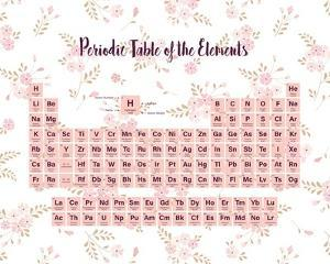 Periodic Table Of The Elements Pink Floral by Color Me Happy