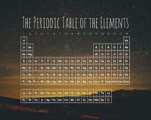 The Periodic Table Of The Elements Night Sky Green by Color Me Happy