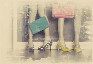 Vintage Fashion Pop of Color Heels and Handbags by Color Me Happy
