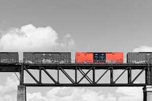 Color Pop, Freight train passing over a bridge, Ontario, Canada, Living Coral