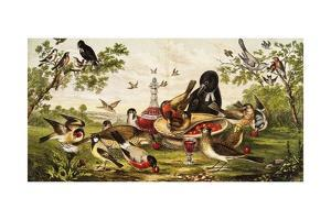 Color Print of Birds Feasting on a Fruit Pie
