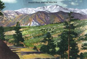 Colorado, Panoramic View of Rampart Range Road and Pikes Peak
