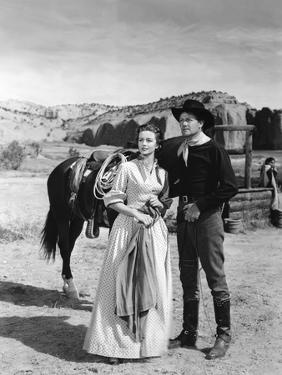 COLORADO TERRITORY, 1949 directed by RAOUL WALSH Dorothy Malone and Joel McCrea (b/w photo)