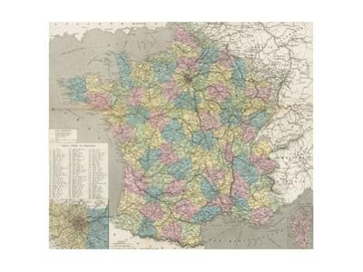 Colored Map of France