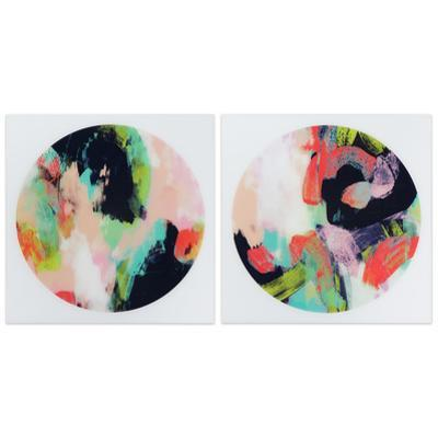 """""""Colorful 1&2"""" Frameless Free Floating Tempered Glass Panel Graphic Wall Art"""