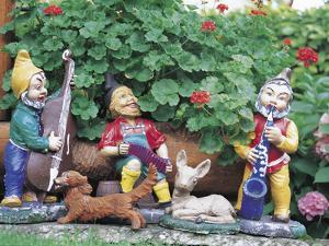 Colorful Garden Gnomes Playing Music