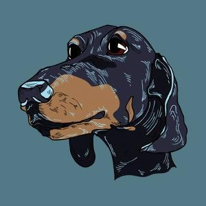 Colorful Hand Drawn Dog Portrait in Vector