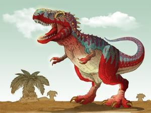 Colorful Illustration of an Angry Tyrannosaurus Rex