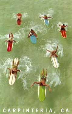 Colorful Surfers and Surf Boards in Green Water, Carpinteria