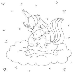 Coloring Page for Children. Cute Sleeping Unicorn Hugging a Cloud Cartoon Vector. Coloring Page Tem