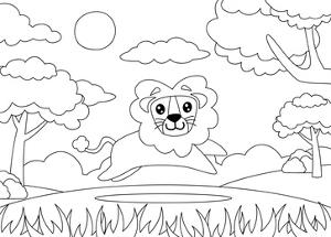 Coloring Page of a Lion Running Happily. Cartoon Lion. Suitable to Use for Children Book and Animal