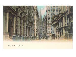Colorized Wall Street Scene, New York City
