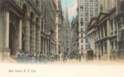 Colorized Wall Street Scene, New York City