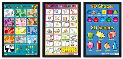 Colors, Shapes, and Alphabet Framed Poster Set
