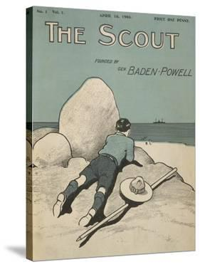 Colour Illustrated Cover Showing a Boy Scout Watching a Ship On the Horizon