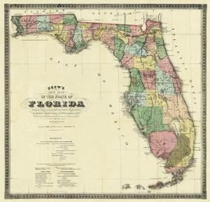 New Map of the State of Florida, c.1870 by Columbus Drew