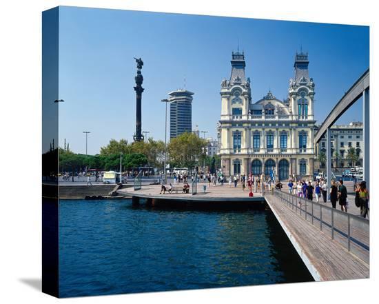 Columbus Memorial Barcelona--Stretched Canvas Print
