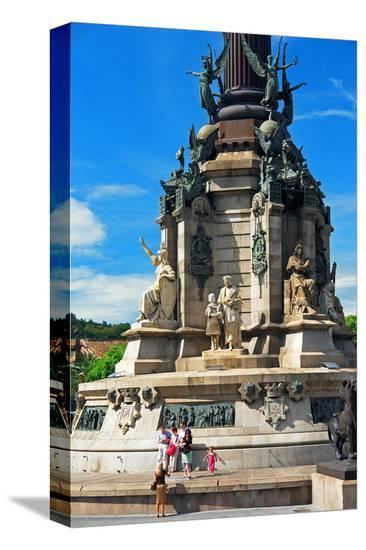 Columbus monument on the Placa del Portal de la Pau, Barcelona, Catalonia, Spain--Stretched Canvas