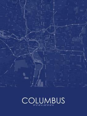 Columbus, United States of America Blue Map
