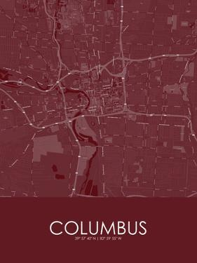 Columbus, United States of America Red Map