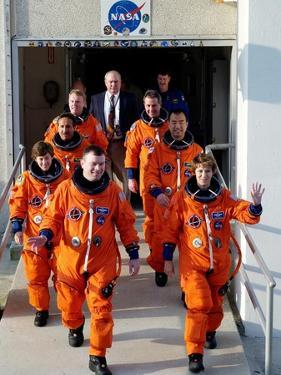 Commander Eileen Collins with Space Shuttle Mission 114 Crew En Route to the Launch Pad, Jul 2005