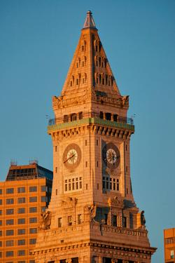 Commerce House Tower (built 1910) and Boston Skyline at sunrise as photographed from Lewis Wharf...