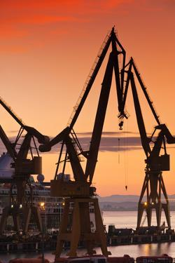 Commercial dock at sunrise, Cadiz, Andalusia, Spain