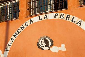 Commercial sign of a bar, Flamenca La Perla, Cadiz, Andalusia, Spain