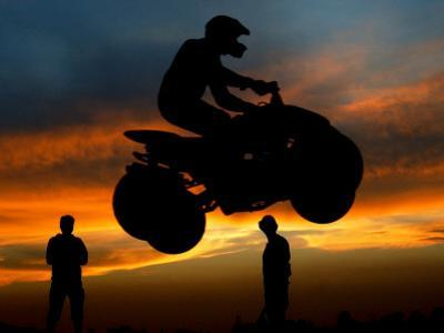 Competitor Jumps with His Quad Bike During a Greek National Race at Hellinikon Old Airport, Athens