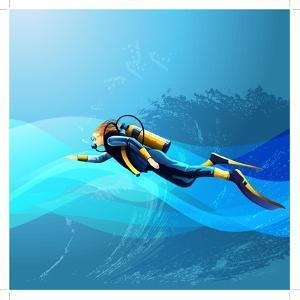 Scuba Diver Girl by Conceptcafe