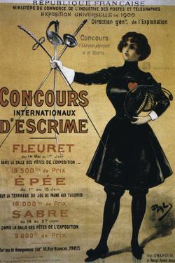 Concours Internationaux d'Escrime, 1900 Summer Olympics, Poster