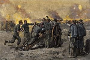 Confederate's on Marye's Hill Firing on Union Troops Attacking Fredericksburg, Virginia, 1862