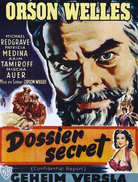 Confidential Report, (AKA Mr. Arkadin, Aka Dossier Secret), Belgian Poster Art, 1955