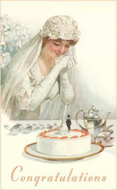 Congratulations, Bride with Cake