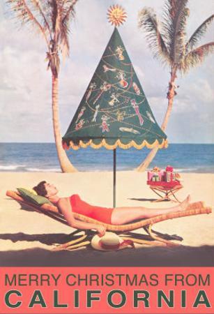 Conical Umbrella, Palm Trees, Beach