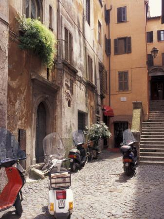 Motorscooters on Residential Street near Vatican City, Rome, Italy by Connie Ricca
