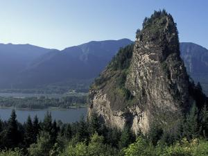 View of Beacon Rock on the Columbia River, Beacon Rock State Park, Washington, USA by Connie Ricca