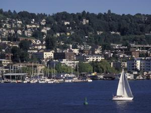 View of Lake Union and Capitol Hill Neighborhood, Seattle, Washington, USA by Connie Ricca